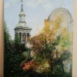 """Jadwiga Popowska, """"Kościół"""", olej na płótnie, 60x40 cm"""
