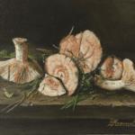 """Barbara Mazerant, """"Rydze"""", olej na płótnie, 25x30 cm"""