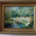 """Elżbieta Wiśniewska, """"Zakole Pilicy"""", olej na płótnie, 18x27 cm"""