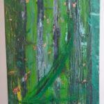 """Robert Jasnowski, """"Czy to już czas"""", akryl + złota ozdobna folia, 120x40 cm"""