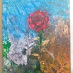 "Robert Jasnowski, ""Skazany"", akryl, techniki pouringu + srebrna ozdobna folia + czarny tusz, 70x50 cm"