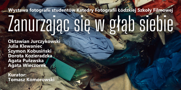 Plakat informacyjny z tytułem wystawy i listą uczestników